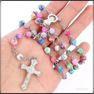 Polymer Clay BeadRosary Cross Necklace Virgin Mary